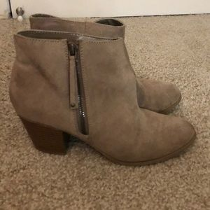 Express tan suede zipper ankle boots